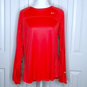 NIKE Long Sleeve Running Top Bright Red XXL